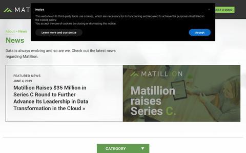 Screenshot of Press Page matillion.com - News | Matillion - captured Dec. 1, 2019