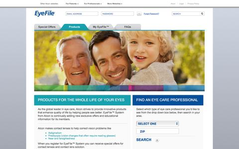 Screenshot of Products Page eyefile.com - ALCON | EyeFile.com - captured Feb. 8, 2016