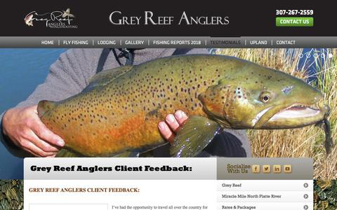 Screenshot of Testimonials Page greyreefanglers.com - Grey Reef Anglers Client Feedback - Grey Reef Anglers and Wingshooting - captured July 25, 2018