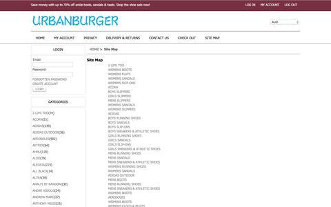 Screenshot of Site Map Page urbanburger.com.au - Site Map : Discover Our Stylish Range Of Shoes - Boots, Flat Shoes, Pumps, Sandals Online Big Sale - Urbanburger.com.au - captured June 12, 2017