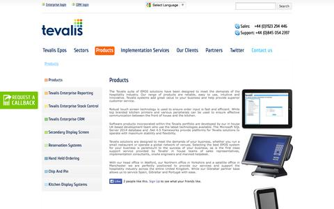 Screenshot of Products Page tevalis.com - Tevalis Epos product range - captured Oct. 26, 2014