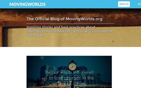 Screenshot of Blog movingworlds.org - The MovingWorlds Blog - International skills-based volunteering insights and stories - captured Jan. 19, 2016