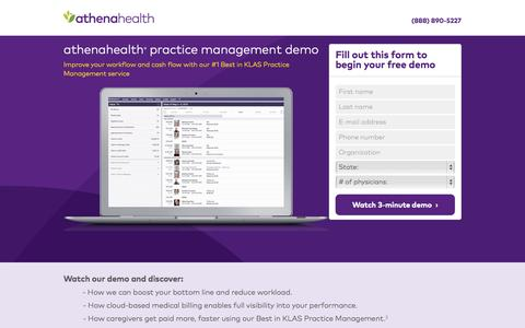Screenshot of Landing Page athenahealth.com - athenahealth | Watch free demo - captured Oct. 27, 2015