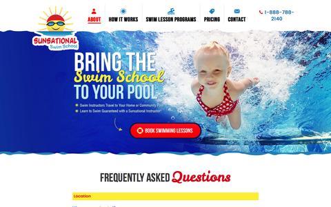 Screenshot of FAQ Page sunsationalswimschool.com - Swimming Lessons FAQ   Sunsational Swim School - captured Sept. 4, 2016
