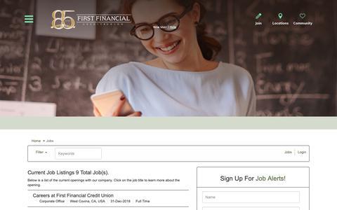 Screenshot of Jobs Page applicantpro.com - Job Listings - First Financial Credit Union Jobs - captured Oct. 10, 2018