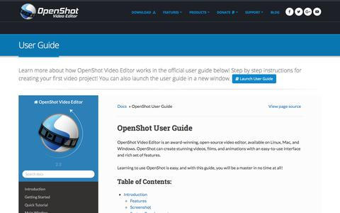 Screenshot of Support Page openshot.org - OpenShot Video Editor | User Guide - captured June 22, 2017