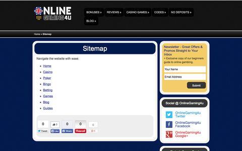 Screenshot of Site Map Page onlinegaming4u.com - Sitemap | OnlineGaming4u - captured Oct. 26, 2014
