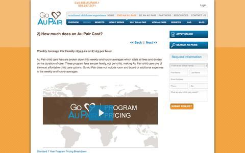 Screenshot of Pricing Page goaupair.com - What does an Au Pair cost and what are the program fees? | Go Au Pair - captured Sept. 24, 2014