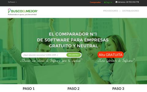 Screenshot of Home Page buscoelmejor.com - BUSCOelMEJOR: El comparador de software para empresas - captured Dec. 28, 2015