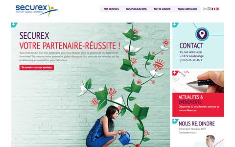 Screenshot of Home Page securex.lu - Votre partenaire paye et RH au Luxembourg   Securex - captured Feb. 14, 2018