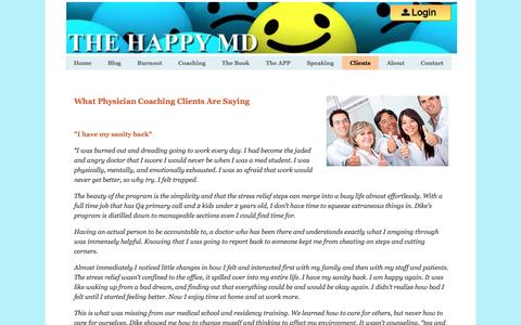 Screenshot of Testimonials Page thehappymd.com - Clients - captured April 22, 2016