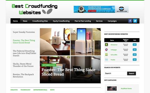 Screenshot of Home Page best-crowdfunding-websites.com - Best Crowdfunding Websites — Find trustworthy crowdfunding websites and crowdfunding services providers and discover the hottest crowdfunding campaigns. - captured Sept. 19, 2014