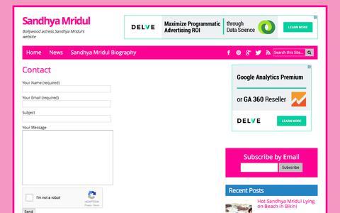 Screenshot of Contact Page sandhyamridul.com - Contact - captured June 9, 2016