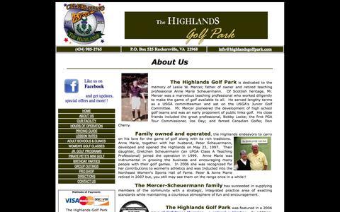 Screenshot of About Page highlandsgolfpark.com - The Highlands Golf Park, Driving Range near Charlottesville, Va. - captured Sept. 30, 2014