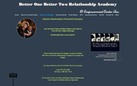 Screenshot of Services Page premaritalcounselingatlanta.com - Better One Better Two Relationship Academy - captured Oct. 18, 2016