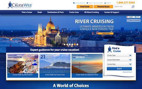 Screenshot of Home Page cruiseweb.com - Best Cruise Deals, Best Cruise Travel Agents | The Cruise Web - captured Feb. 10, 2016