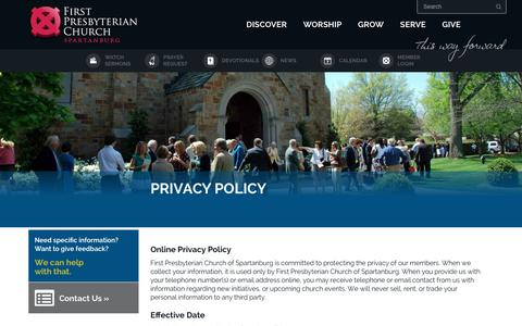 Screenshot of Privacy Page fpcspartanburg.org - Privacy Policy | First Presbyterian Church Spartanburg, South Carolina - captured Oct. 13, 2017