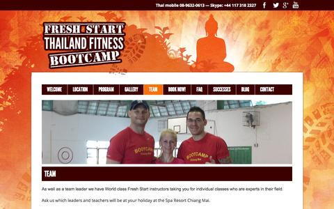 Screenshot of Team Page thailandfitnessbootcamp.com - The Fresh Start Thailand Fitness Boot CampTeam | Fresh Start :: Thailand Fitness Bootcamp - captured Oct. 6, 2014