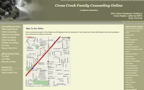 Screenshot of Maps & Directions Page crosscreekcounseling.com - Map to Cross Creek Family Counseling | Sacramento Counseling & Sacramento Marriage Counseling | Roseville | Citrus Heights - captured Sept. 30, 2018