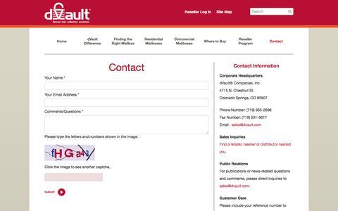 Screenshot of Contact Page dvault.com - dVault :: Contact - captured Feb. 9, 2016