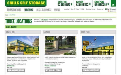 Screenshot of Locations Page hillsselfstorage.com.au - Sydney Self Storage Locations - Castle Hill, Galston & Kings Park - captured Oct. 28, 2014