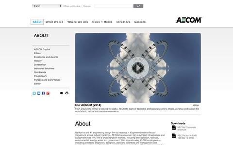 Screenshot of About Page aecom.com - About - AECOM - A global provider of architecture, design, engineering, and construction services - captured Oct. 10, 2014