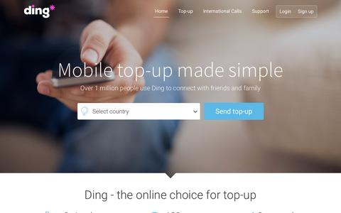 Screenshot of Home Page ding.com - Ding - top-up any phone, anytime, anywhere - ding.com - captured Oct. 1, 2015