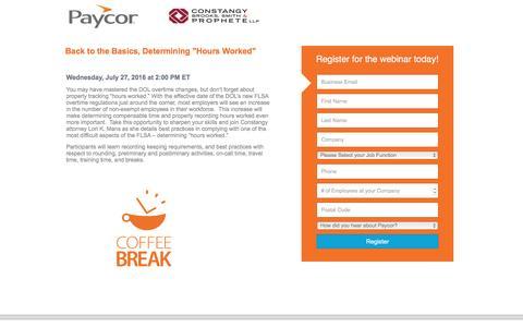 Screenshot of Landing Page paycor.com - Paycor Webinar Registration - captured Aug. 22, 2016