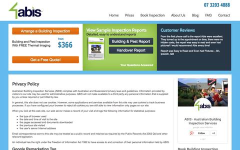 Screenshot of Privacy Page abis.com.au - Privacy Policy | Australian Building Inspection Services - captured Oct. 4, 2014