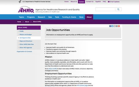 Screenshot of Jobs Page ahrq.gov - Job Opportunities | Agency for Healthcare Research & Quality - captured Oct. 7, 2017