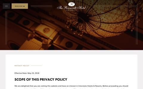 Screenshot of Privacy Page theroosevelthotel.com - Privacy Policy - The Roosevelt Hotel - captured Nov. 7, 2018