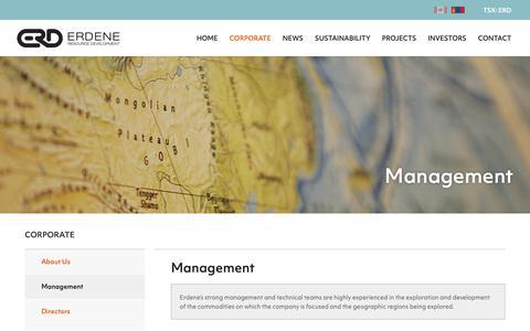 Screenshot of Team Page erdene.com - Management   Erdene Resource Development Corp. - captured Nov. 9, 2018