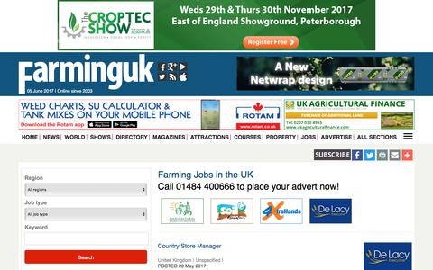 Screenshot of Jobs Page farminguk.com - Farming Jobs in UK | Search Agricultural Jobs from Farming UK - captured June 5, 2017
