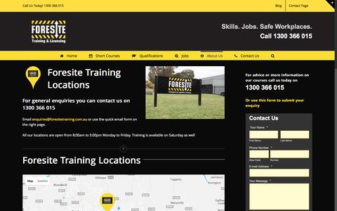 Screenshot of Locations Page foresitetraining.com.au - Foresite Training Locations throughout Austrailia - captured Aug. 4, 2016
