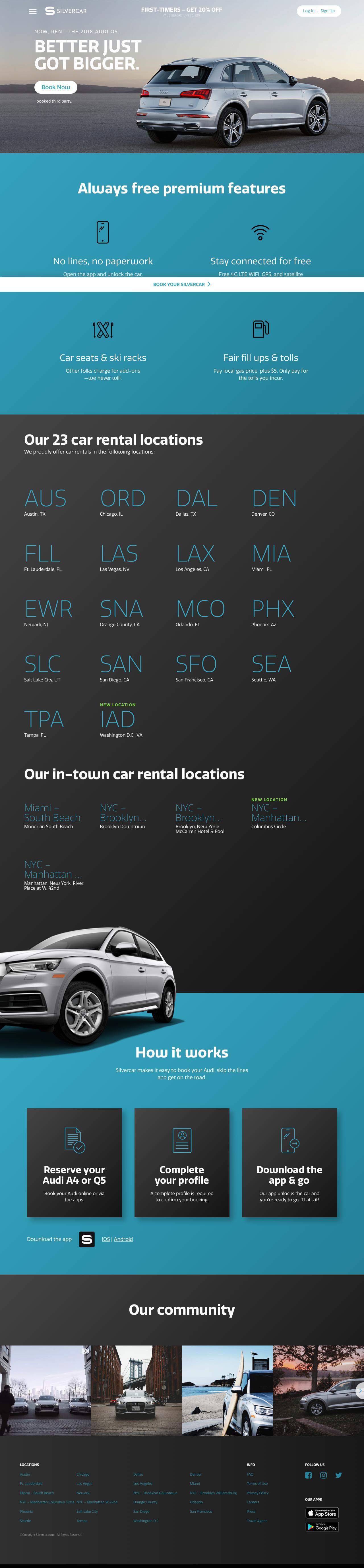 Screenshot of silvercar.com - Silvercar: Car Rental with No Lines & Free Premium Features - captured June 1, 2018