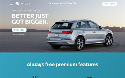 Screenshot of Home Page silvercar.com - Silvercar: Car Rental with No Lines & Free Premium Features - captured June 1, 2018
