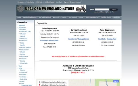 Screenshot of Contact Page Hours Page uralne.com - Contact Us - captured Oct. 26, 2014