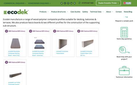 Screenshot of Products Page ecodek.co.uk - Product Range - ecodek.co.uk - captured Sept. 22, 2018