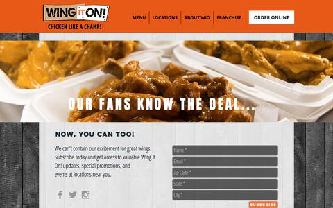 Screenshot of Signup Page wingiton.com - Wing It On! - Chicken Like a Champ! Wings, Chicken Sandwiches & More | PROMOTIONS - captured Dec. 10, 2017