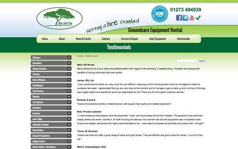 Screenshot of Testimonials Page acaciarental.com - Testimonials & Reviews | Acacia Equipment Hire | Sussex - captured Nov. 20, 2016