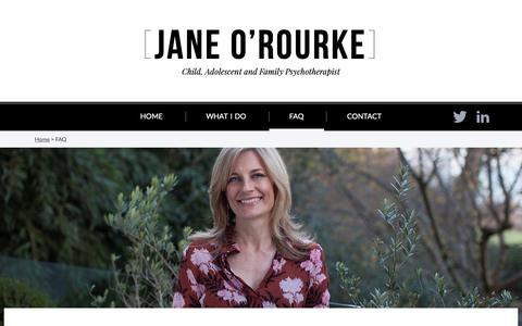 Screenshot of FAQ Page janeorourke.com - Frequently Asked Questions | Jane O'Rourke - captured Oct. 2, 2018