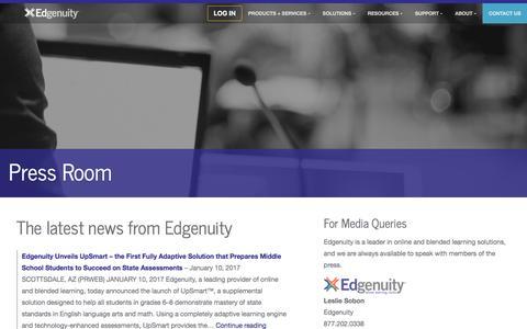 Screenshot of Press Page edgenuity.com - Edgenuity Inc. | Press Room - captured Feb. 22, 2017