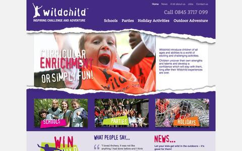 Screenshot of Home Page wildchildactivities.com - Outdoor Activities for Kids, Childrens Birthday Parties / Wildchild Activities - captured Oct. 1, 2014