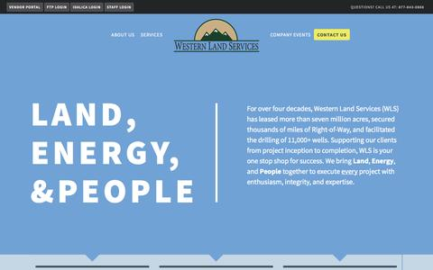 Screenshot of Home Page westernls.com - Western Land Services - captured Oct. 6, 2014
