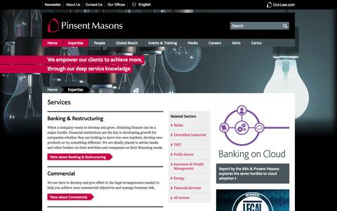 Screenshot of Services Page pinsentmasons.com - Services - captured May 17, 2017