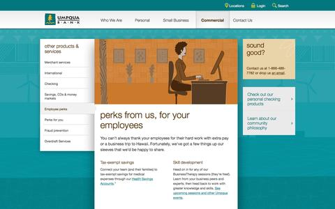 Umpqua Bank perks for your employees -- commercial banking