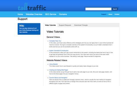 Screenshot of Support Page talltraffic.com.au - Support - captured Sept. 30, 2014