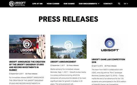 Screenshot of Press Page ubisoft.com - Press releases Archives - Page 2 of 2 - Ubisoft Montréal - captured Nov. 8, 2019