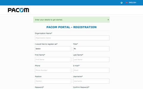 Screenshot of Signup Page pacom.com - Register | PACOM - captured Oct. 18, 2016