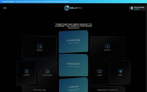 Screenshot of Home Page virgingalactic.com - Virgin Galactic - captured March 17, 2019